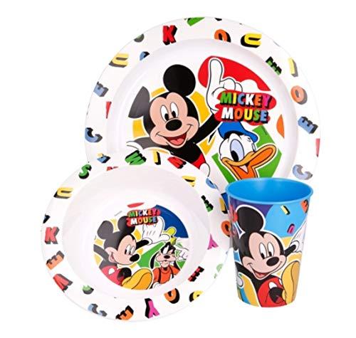 Juego de vajilla de 3 piezas: plato, cuenco y vaso de plástico sin BPA, apto para microondas, reutilizable (Mickey Mouse)