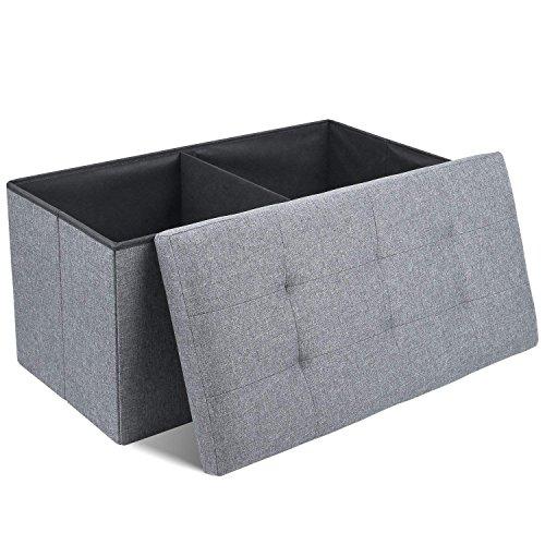 Homfa Baúles Puff Taburete para Almacenaje Banco Plegable Lino Banco de Entrada con Caja de Almacenaje 110L Carga Máxima 300 kg Gris 76x38x38cm