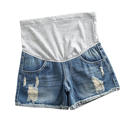 Xinvivion Damen Mutterschaft Jeans Kurze Hose Shorts - Mode Einstellbar Elastisch Pflege Bauch Sommer Schwanger Denim Kurz Hosen