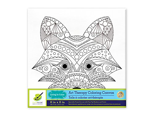 Living in Color Art Therapy Stretch Artist Canvas  Primed, 8in x 8in, Color your own beautiful design on Canvas, Fox