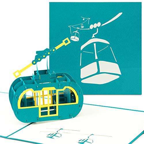 PaperCrush® Pop-Up Karte Ski Gondel - Gutschein für Skiurlaub, Skifahren - Als Grußkarte oder Gutscheinkarte für Skifahrer