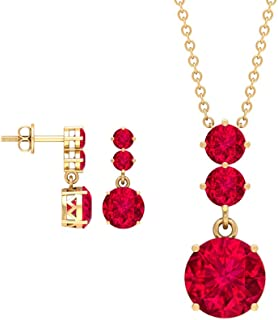 5.47 CT Lab Created Ruby Jewelry, Ruby Gemstone Pendant Earring, Three Stone Drop Earring, Statement Pendant Earring, Gold...