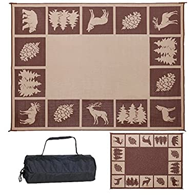 Reversible Mats 9-Feet x 12-Feet Outdoor Patio / RV Camping Wilderness Hunter Mat - (Brown/Beige)