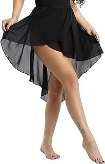 inlzdz Women's Asymmetrical Chiffon Ballet Wrap Over Scarf Dance Leotard Skate Tutu Skirt