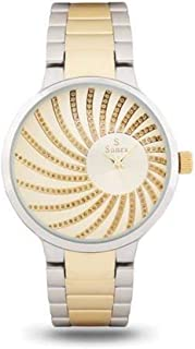Suenx watch for women, analog stainless steel Teton gold dial