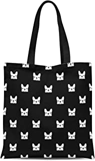 Semtomn Cotton Canvas Tote Bag Puppy French Bulldog Pattern Frenchie Animal Outline Face Pet Reusable Shoulder Grocery Shopping Bags Handbag Printed