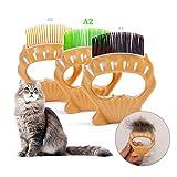 Qisiewell Tierbürste Tierhaarentferner Massagekamm A2 Hart Kurzhaar Pet Shell Muschel-Kamm Haustierbürste elastischen ABS-Bürste Kurzhaarige Kleine Katze Hund Unterhaarentfernung