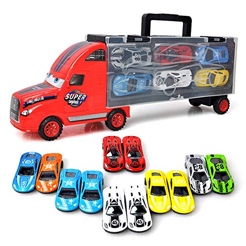 Truck Set LKW Transportfahrzeug Autotransporter Tragegriff mit 12 Rennautos Spielzeug Perfektes Geschenk für Jungen (Rot)