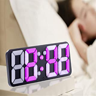 HSXOT Estéreo 3D Reloj Despertador Colorido Color Reloj Despertador Led Digital Estéreo Reloj De Pared Reloj Despertador Creativo