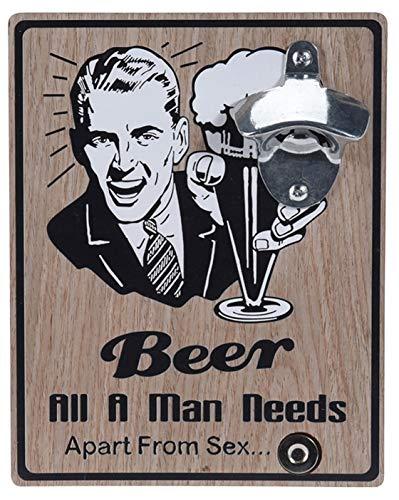 Apribottiglie da parete in legno con apribottiglie in metallo, 18 x 23 cm (Beer all a man needs)