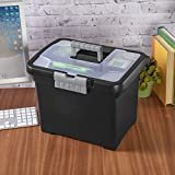 Sterilite 18719004 Portable File Box, Black with Clear Storage Lid and Titanium Handle and Latch, 4-Pack