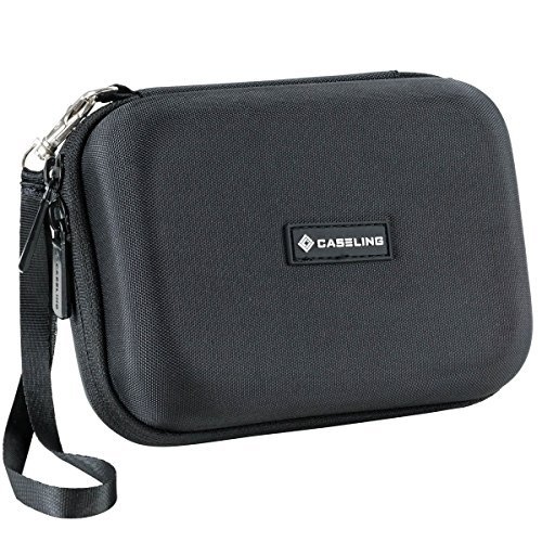 Caseling Hard Carrying GPS Case for up to 5-inch Screens. for Garmin Nuvi, Tomtom, Magellan, GPS – Mesh Pocket for USB Cable and Car Charger - Black