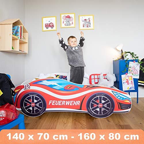 Kinderbett Autobett Pkw Feuerwehr 140 x 70 cm Lattenrost und Matratze MDF beschichtet