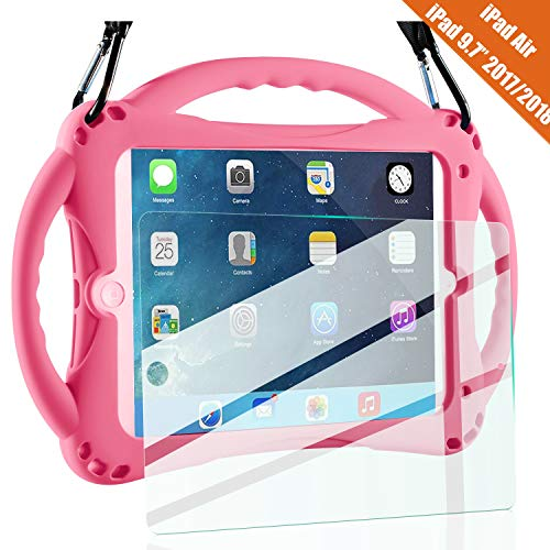 TopEsct Kids Case for New iPad 2017/2018 9.7 inch Case, Shockproof Silicone Handle Stand Case Cover&(Tempered Glass Screen Protector) For Apple iPad 6th/5th Generation and iPad Air(Pink)
