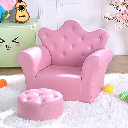 AGVER Bambini Divano, PU Pelle Poltrona Bambini Kids Mini Divano con Poggiapiedi, per Camera Game Room (Rosa),Light Pink