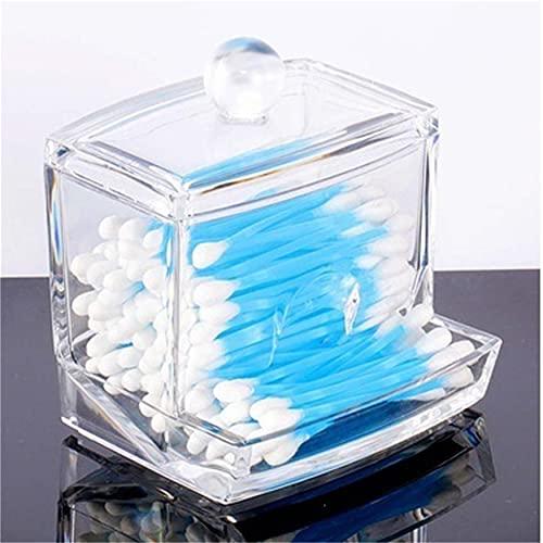 FWQW Support de tampons en coton, organisateur de conteneur de tampons de maquillage en acrylique transparent, boîte de tampon de maquillage de stockage étui de rangement cosmétique