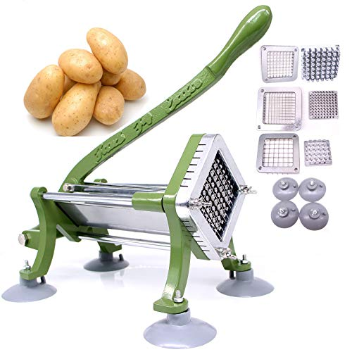 French Fry Cutter Commercial Potato Slicer with Suction Feet Complete Set, Includes 1/4', 3/8',1/2'