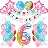 6 Años Decoración de Cumpleaños de Niña Color Degradado Número 6 de ágata Número Gigante 6(40'-100CM) Aluminio Colorido Globos de Cumpleaños de Látex para Niñas