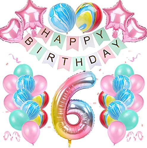 6 Anni Decorazione di Compleanno, Colore Sfumato Set di Palloncini Numero 6 Buon Compleanno Striscione Palloncini in Lattice di Agata in Lamina per Bambina Bambino