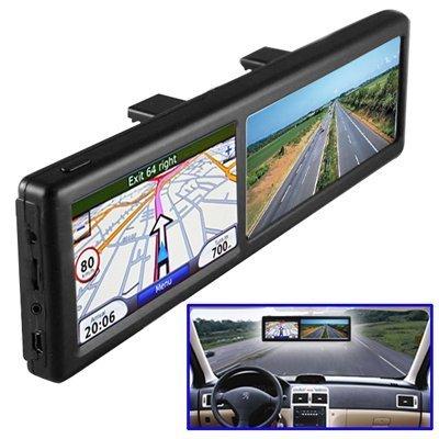 BW&Reg; - Specchietto retrovisore con Sistema di Navigazione GPS, Bluetooth Integrato per effettuare chiamate in Vivavoce, 4GB, mappe d'Europa