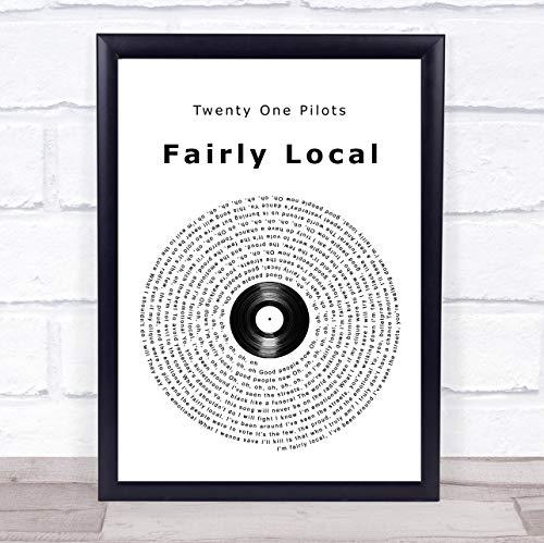 Fingerprint Designs Fairly Local Vinyl-Schallplatte Liedtext Framed Brushed Gold Small