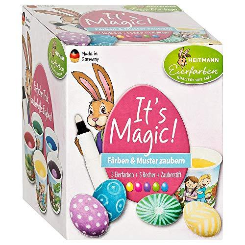 Heitmann Eierfarben It's Magic! - 5 flüssige Eierfarben, 5 Färbebecher, Zauberstift, Zaubertinte - azofrei - Ostern - Ostereier bemalen, Ostereierfarbe