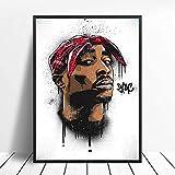 PHhomedecor 2Pac Notorious Big Biggie Poster Tupac Shakur Posters E Impresiones Cuadro De Arte De Pared Pintura De Lienzo Moderna Decoración del Hogar,50X70Cm Sin Marco,Ph-158