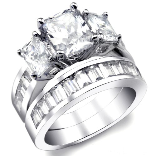2 Carat Radiant Cut Cubic Zirconia CZ Sterling Silver Women's Wedding Engagement Ring Set Size 4 to 11 (5)