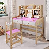 Adjustable Height Wooden Student Desk and Chair Set with Drawers and Bookshelves, Writing & Drawing Desk, Study Table for Child, Bedroom Living Room Furniture, Kids Desk and Chair Set (Pink)