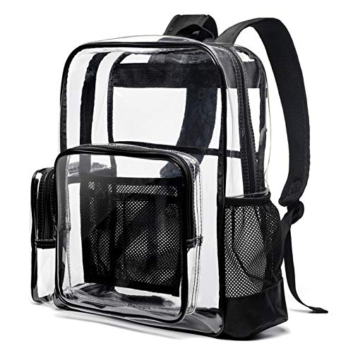 Clear Backpack, Cambond Heavy Duty Transparent School Backpack with Reinforced Straps Large Clear Backpack for School and Work (Black)