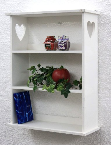 DanDiBo Scaffale a parete con cuore 12013 Scaffale 50 cm Vintage Shabby stile country Scaffale da cucina bianco
