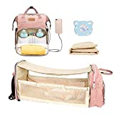 Cosy Casa Baby Diaper Bag Backpack with Travel Bassinet Changing Station Mat Portable Crib for Baby Girl Boy Infant Mom, Mommy Bag Tote with Toddler Bed Sleeper Diaper-Bag-Backpack-Baby-Travel(Pink)