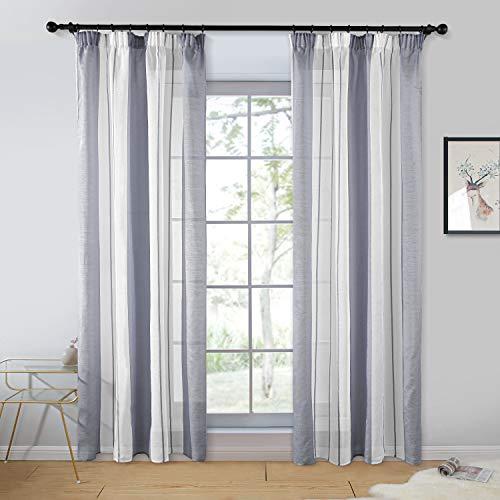 Topfinel 2er Set Transparent Grau-Weiß-Streifen Voile Gardinen mit Kräuselband Dekoration Vorhänge Für Kinderzimmer,140x235cm