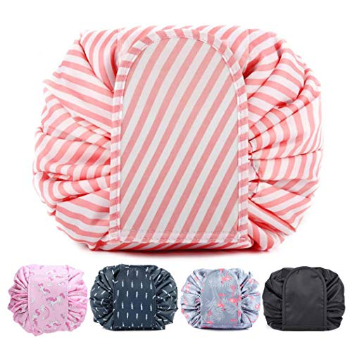 Ebay Makeup Bag Lazy Drawstring Makeup Organizer Storage Bag Cosmetic Jewelry Barrel Cosmetic Pouch Large Capacity Portable Foldable Barrel Travel Accessories for Women and Girls (Pink white stripes)