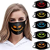 【USA In Stock】Halloween Print_Masks Face Bandanas for Women Men Windproof Anti-spitting Nose Mouth Protective Washable Scary for Party Daily Use Safty Face Guard (5, Multicolor)