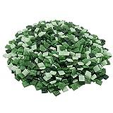 mosamare Piedras de mosaico para manualidades – Variantes de colores – (1 x 1 cm, 900 g, aprox. 1300 unidades) – Mosaico de cristal – Sin embalaje de plástico – mezcla de verde