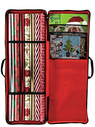 Gift Wrap Storage Bag - Keeps Rolls of Wrapping Paper, Bows and Ribbon Organized in One Convenient Container