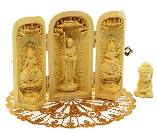 ツゲ 木彫仏像 彫刻 (地蔵菩薩・文殊菩薩・普賢菩薩+お釈迦様+PVCマットセット)