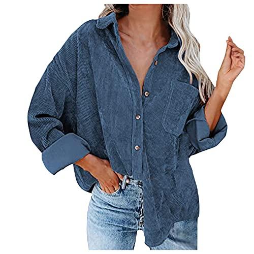 Zldhxyf Blusenshirt - Camisa de manga larga para mujer, de pana de talla grande, monocolor, a cuadros, acanalada, para otoño, con forro, blusa con bolsillo, estilo informal, azul, XXL