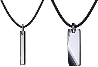 VNOX Free Engraving Tungsten Carbide Vertical Bar Pendant Necklace for Men Women,Free Chain 20