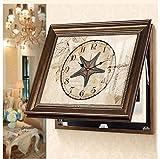 RJW (10 Medidor de la Caja de Pintura Decorativa Sala nórdica de Estilo Americano Caja de distribución de blindaje Caja Mural con Marco de Pintura de Pared Reloj Plus Único (Size : 60 * 50cm)