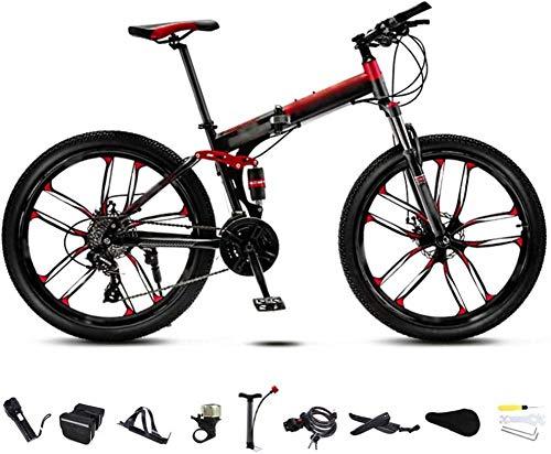 Bicicleta MTB de 24 pulgadas unisex plegable de 30 velocidades, bicicleta de montaña, todoterreno, velocidad variable, para hombres y mujeres, freno de disco doble