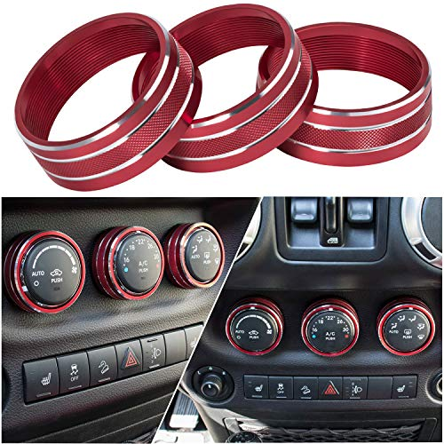 Price comparison product image Danti 3pcs Audio Air Conditioning Button Cover Decoration Twist Switch Ring Trim for Jeep Wrangler JK JKU Patriot Liberty 2011-2018 Dodge Challenger 2008-2014 (Red)