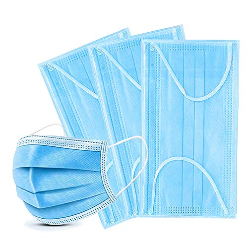 Primacare Disposable Face Masks for Protection & Safety | 3 Ply Filtration System to Prevent Dust and Air Pollution from face and Mouth Cover Breathable Outdoor Use with Comfortable Ear Loop, 100 Pack