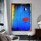 Bailarines corazón amor arte lienzo impresión pintura Joan Miro abstracto famoso cuadro de pared impresión de cartel decorativo para el hogar Sin marco (Size : (23.6x31.5inch)60x80cm unframed)