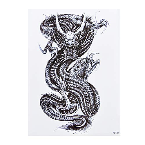 Dragón Tattoo Negro Arm superior pecho Tattoo adhesivo hb760