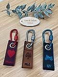 Personalisierterer 2-lagiger Mini Schlüsselanhänger aus Leder | Dual color | Wunschtext & Motiv