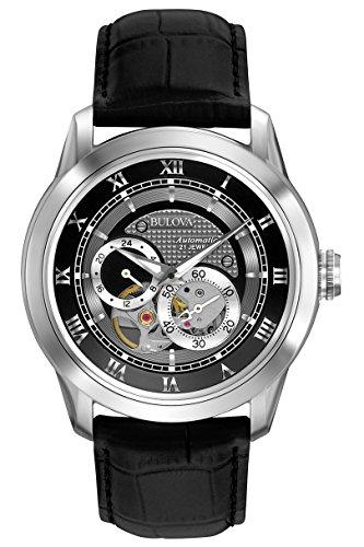 Bulova Automatic 96A135 - Reloj Automático de Diseño para Hombre - Correa de Cuero - Esfera Negra