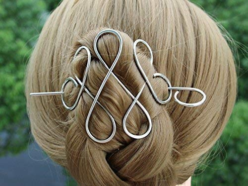 Celtic Silver Hair Clip Pin, Hair fork Hair Barrette Bun Holder, Scarf Slide Sweater Brooch