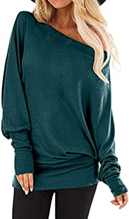T Shirts Womens Long Sleeve Solid Color Crewneck Sexy Off Shoulder Loose Stretch Jumpers Sweatshirt Casual Jogging Lightwe...